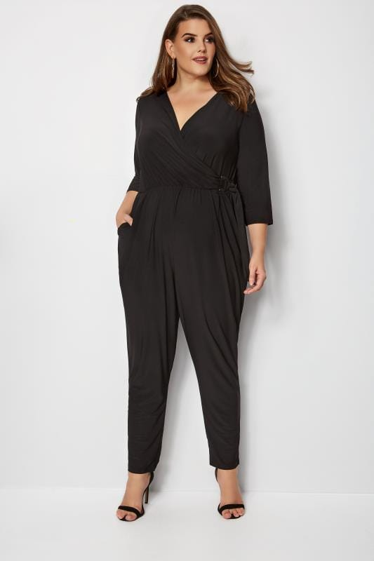 cf56f22e6bf Plus Size Jumpsuits YOURS LONDON Black Wrap Jumpsuit