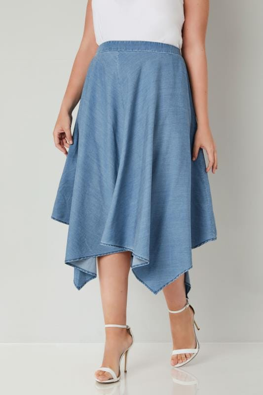 Plus Size Midi Skirts YOURS LONDON Blue Chambray Denim Hanky Hem Skirt