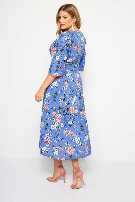 YOURS LONDON Blue Floral Wrap Maxi Dress