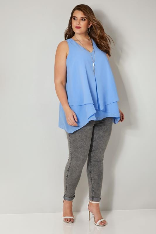 YOURS LONDON Blue Layered Top Chiffon
