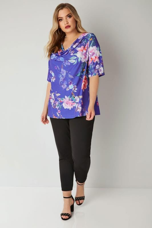 YOURS LONDON Blue & Multi Floral Cowl Neck Top