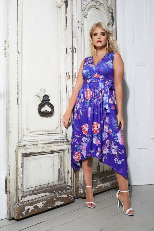 Plus Size Party Dresses YOURS LONDON Blue & Multi Floral Wrap Dress With Hanky Hem