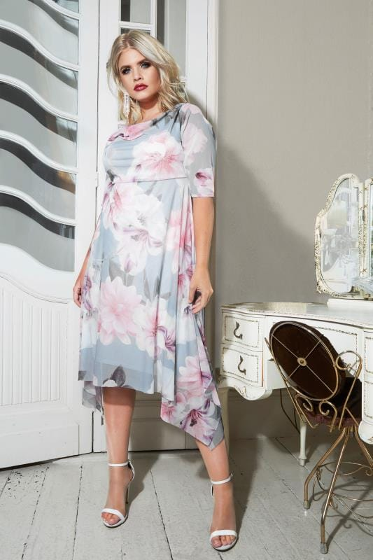 Plus Size Evening Dresses YOURS LONDON Blue & Pink Floral Midi Dress With Cowl Neck