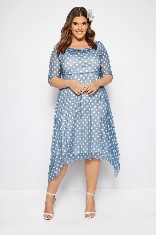 f8382c3635e Plus Size Party Dresses YOURS LONDON Blue Polka Dot Midi Dress With Cowl  Neck