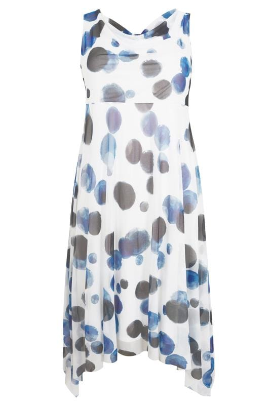 YOURS LONDON Blue Spot Midi Dress With Cowl Neck