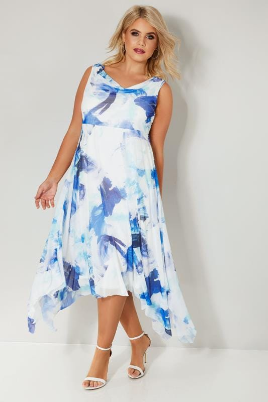 Plus Size Midi Dresses YOURS LONDON Blue & White Abstract Print Mesh Hanky Hem Dress