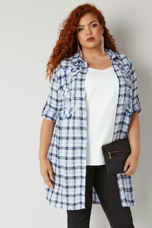 Yours London Blue Amp White Longline Checked Shirt With