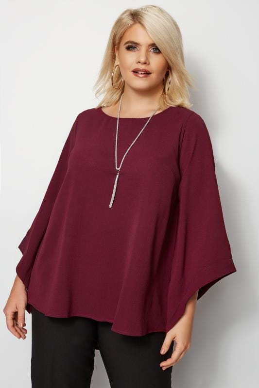 Plus Size Blouses & Shirts YOURS LONDON Burgundy Cape Top
