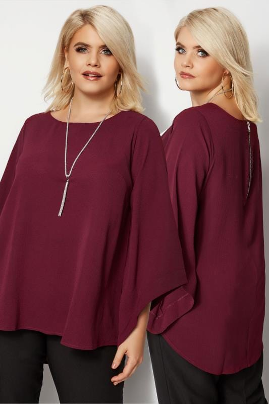 YOURS LONDON Burgundy Cape Top