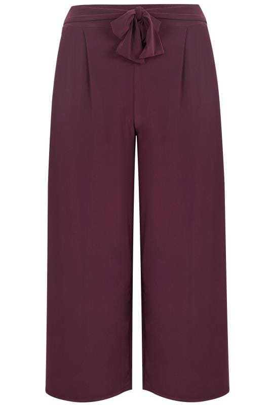 Tallas Grandes Pernera ancha y palazzo YOURS LONDON Burgundy Jersey Wide Leg Trousers