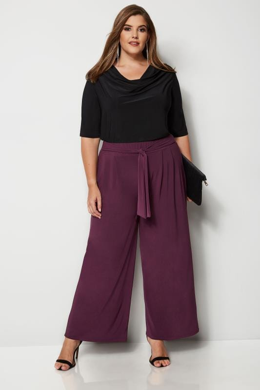 YOURS LONDON Burgundy Jersey Wide Leg Trousers