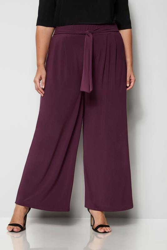 Plus Size Wide Leg & Palazzo Trousers YOURS LONDON Burgundy Jersey Wide Leg Trousers