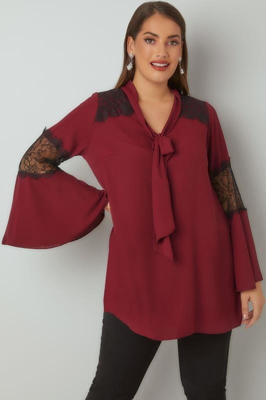 YOURS LONDON Burgundy Lace Blouse With Flute Sleeves & Pussy Bow Tie