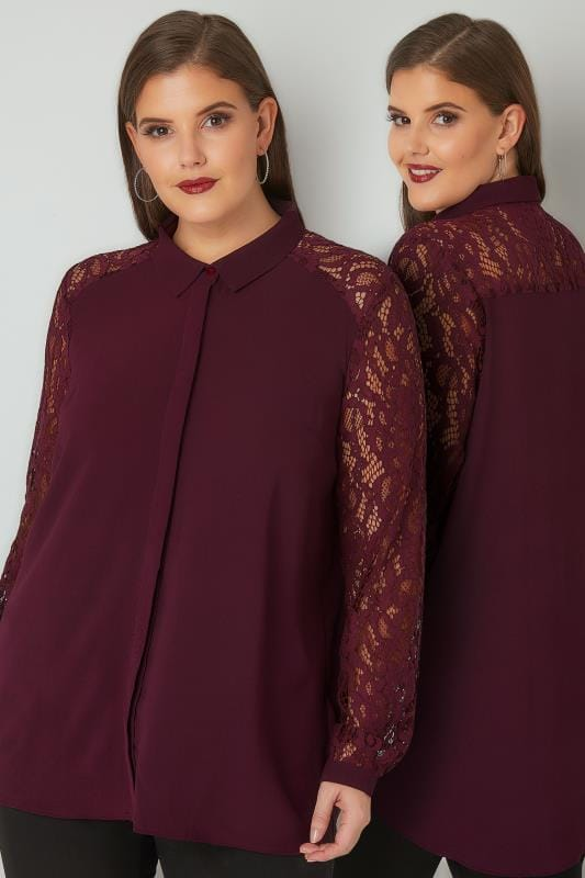 Shirts YOURS LONDON Burgundy Lace Shirt With Curved Hem 156279