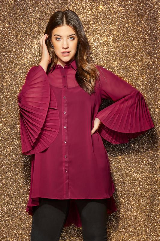 Grote maten shirtblouses YOURS LONDON Bordeauxrode plissé blouse