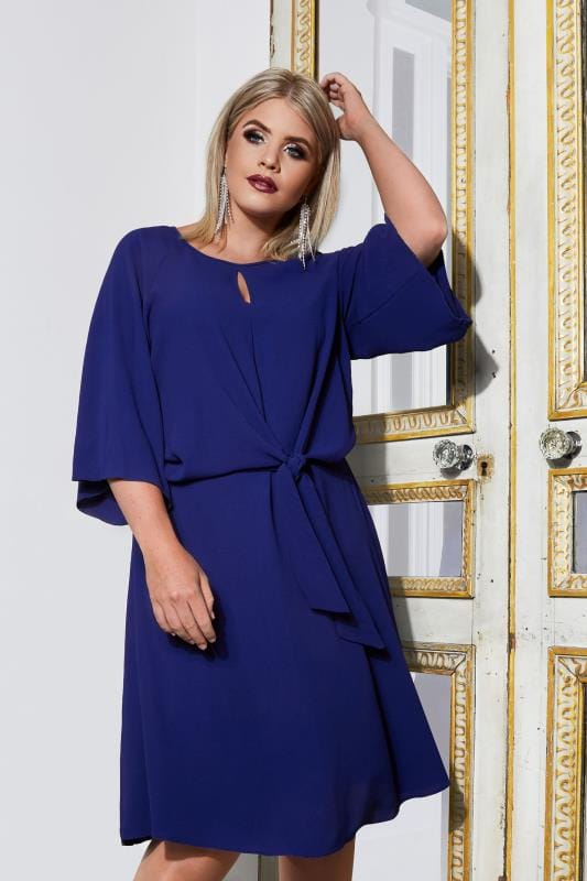 Plus Size Midi Dresses YOURS LONDON Cobalt Blue Dress With Tie Front