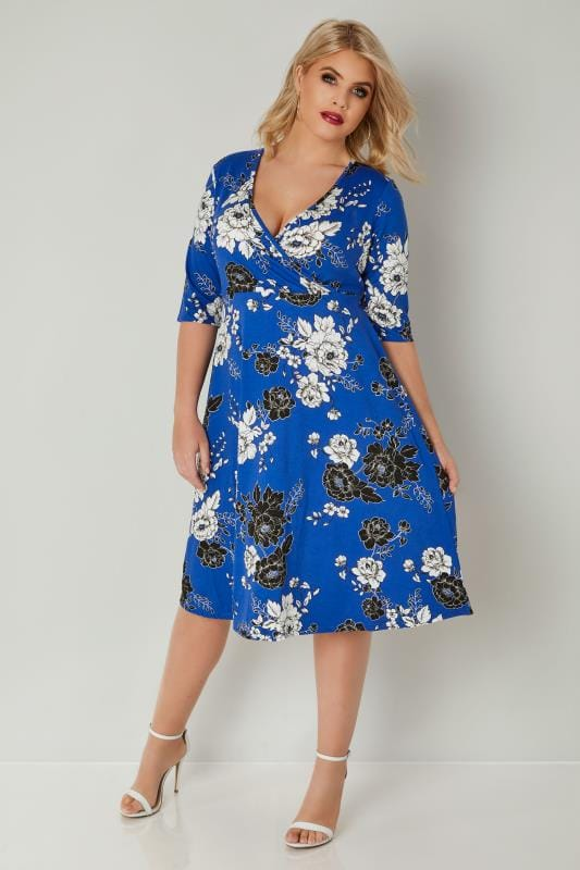 YOURS LONDON Blaues Blumenmuster Wickel Kleid