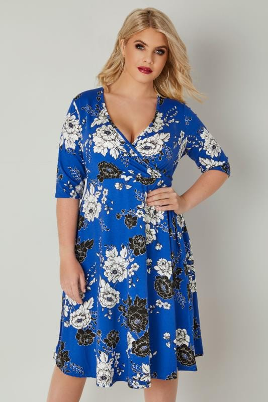 Plus Size Midi Dresses YOURS LONDON Cobalt Blue Floral Print Jersey Wrap Dress