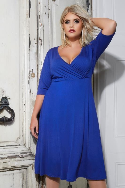 YOURS LONDON Cobalt Blue Wrap Dress