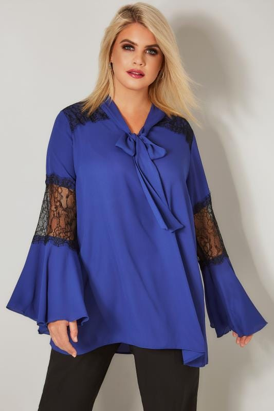 Plus Size Blouses YOURS LONDON Cobalt Blue Pussy Bow Chiffon Blouse