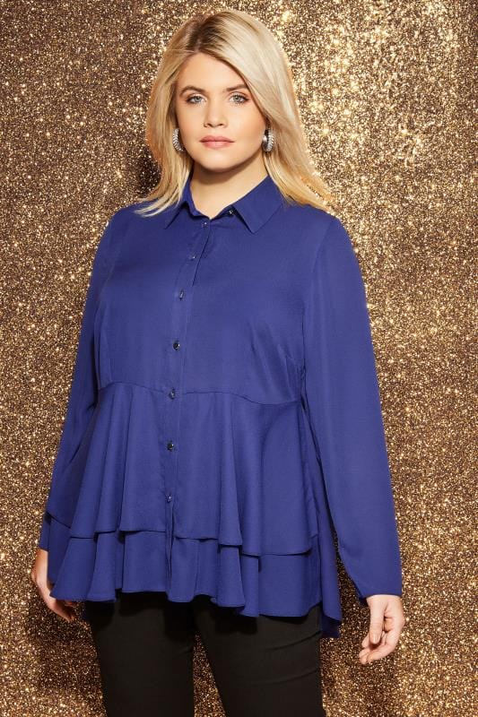 Plus Size Shirts YOURS LONDON Cobalt Blue Ruffle Shirt