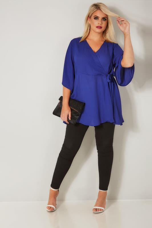 YOURS LONDON Cobalt Blue Wrap Blouse With Kimono Sleeves