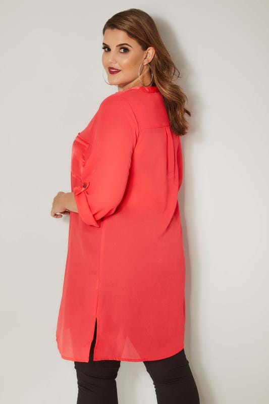 YOURS LONDON Coral Chiffon Blouse With Satin Trim