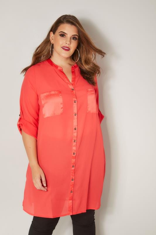Plus Size Blouses YOURS LONDON Coral Chiffon Blouse With Satin Trim