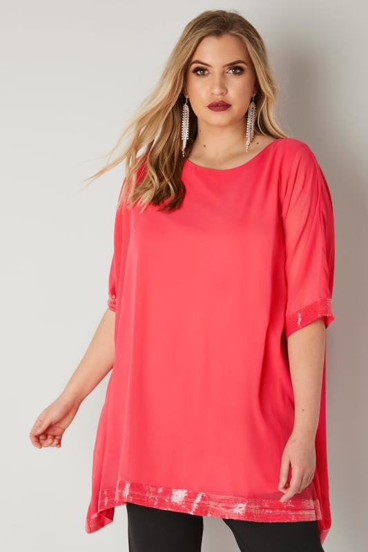 Plus Size Party Tops YOURS LONDON Coral Pink Chiffon Cape Top With Sequin Trim