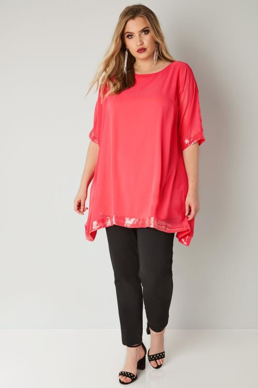 YOURS LONDON Coral Chiffon Cape Top With Sequin Trim