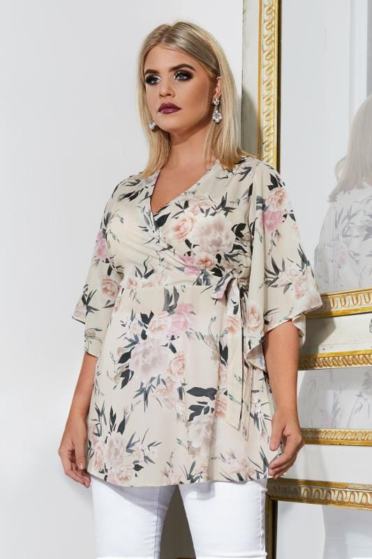 Plus Size Blouses YOURS LONDON Cream & Multi Chiffon Wrap Blouse With Kimono Sleeves