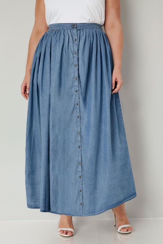 Plus Size Maxi Skirts YOURS LONDON Denim Blue Tencel Maxi Skirt