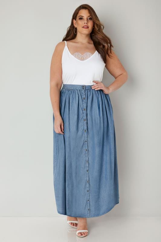 YOURS LONDON Denim Blue Tencel Maxi Skirt