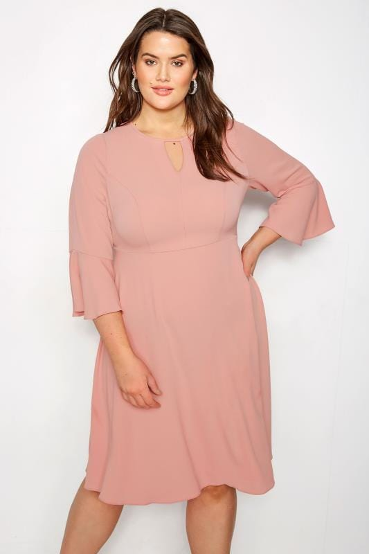 Plus Size Skater Dresses YOURS LONDON Dusky Pink Dress With Fluted Sleeves