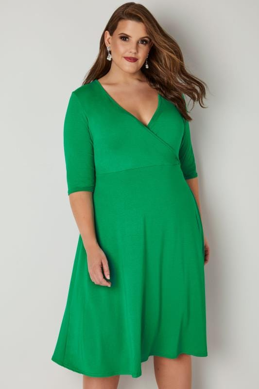Plus Size Midi Dresses YOURS LONDON Green Jersey Wrap Dress