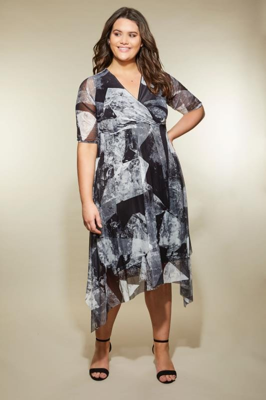 Plus Size Evening Dresses YOURS LONDON Grey & Black Mesh Midi Dress With Hanky Hem