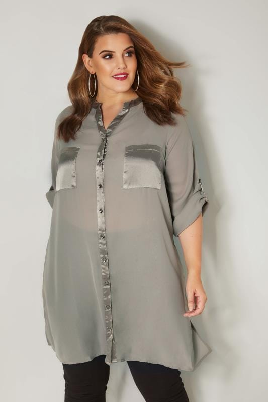 Plus Size Shirts YOURS LONDON Grey Chiffon Blouse With Satin Trim