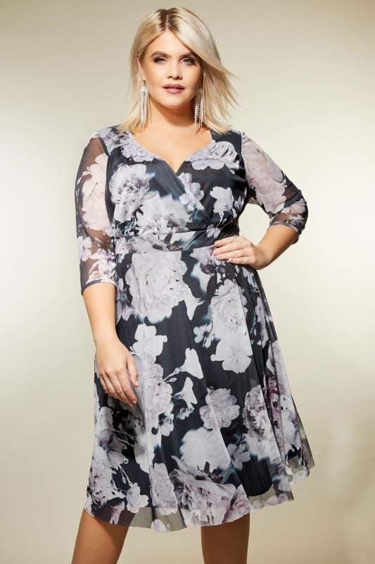 Plus Size Midi Dresses YOURS LONDON Grey & Dusky Purple Floral Wrap Dress