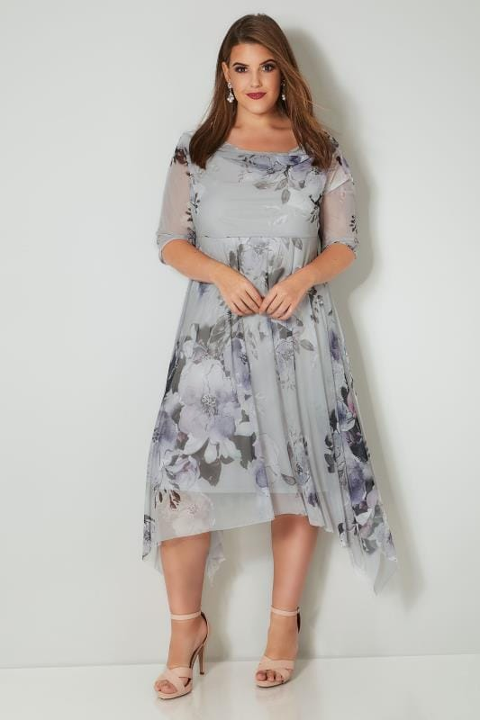 Plus Size Evening Dresses YOURS LONDON Grey & Purple Floral Mesh Dress With Cowl Neck & Hanky Hem