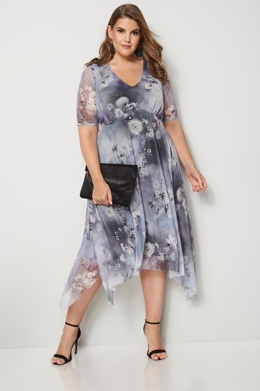 Plus Size Midi Dresses YOURS LONDON Grey Floral Midi Dress
