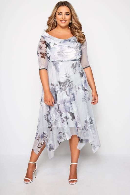 Plus Size Evening Dresses YOURS LONDON Grey Midi Dress With Cowl Neck