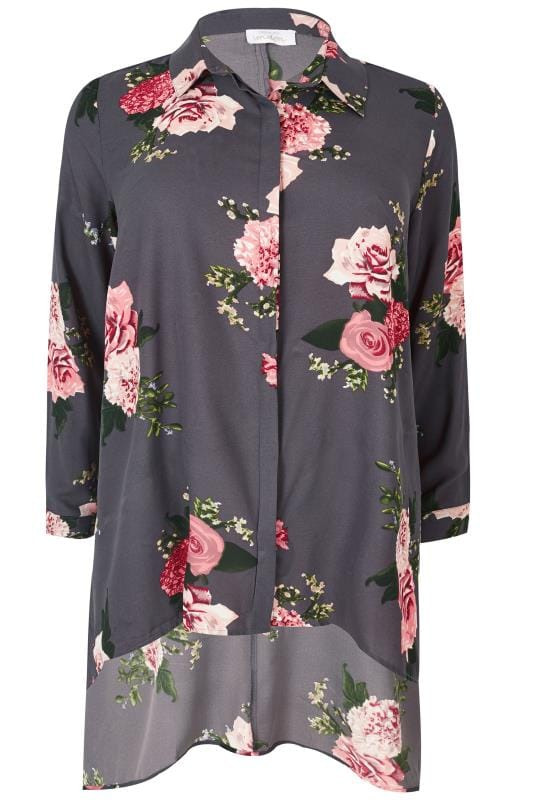 Plus Size Shirts YOURS LONDON Grey & Pink Floral Hanky Hem Shirt