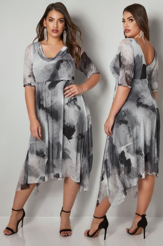 Plus Size Party Dresses YOURS LONDON Grey & White Brush Stroke Hanky Hem Mesh Dress