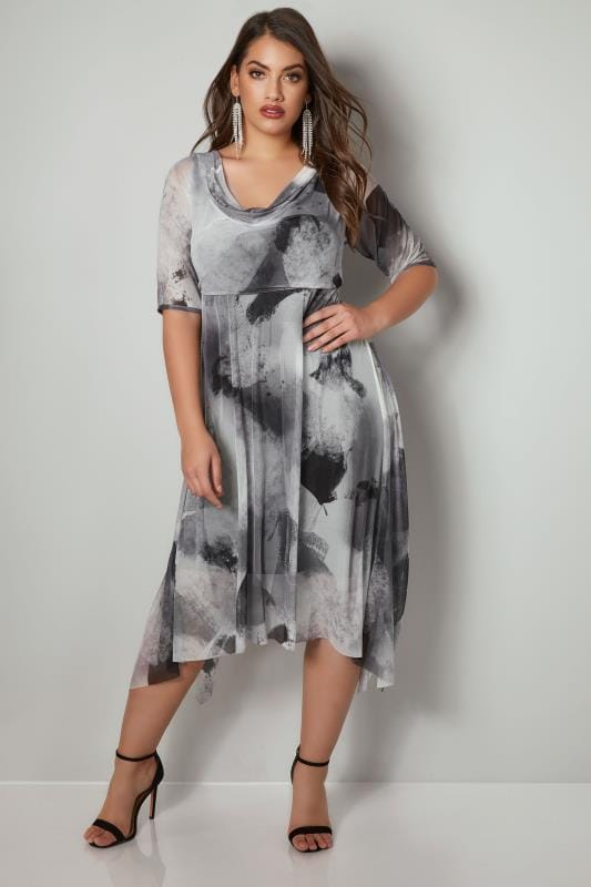 YOURS LONDON Grey & White Midi Dress With Cowl Neck