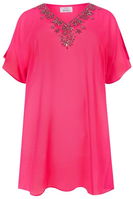 Plus Size Blouses YOURS LONDON Hot Pink Jewell Embellished Chiffon Kimono Top