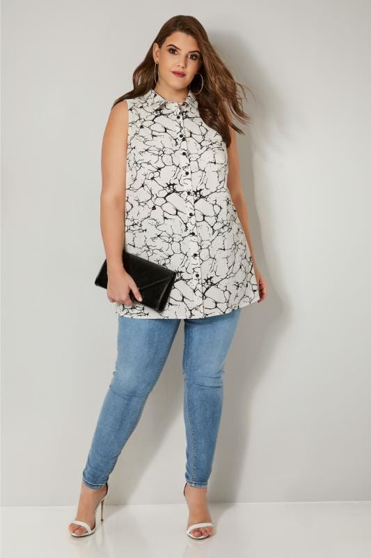 YOURS LONDON Ivory Marble Longline Sleeveless Shirt