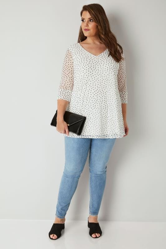 YOURS LONDON Ivory & Black Polka Dot Mesh Top
