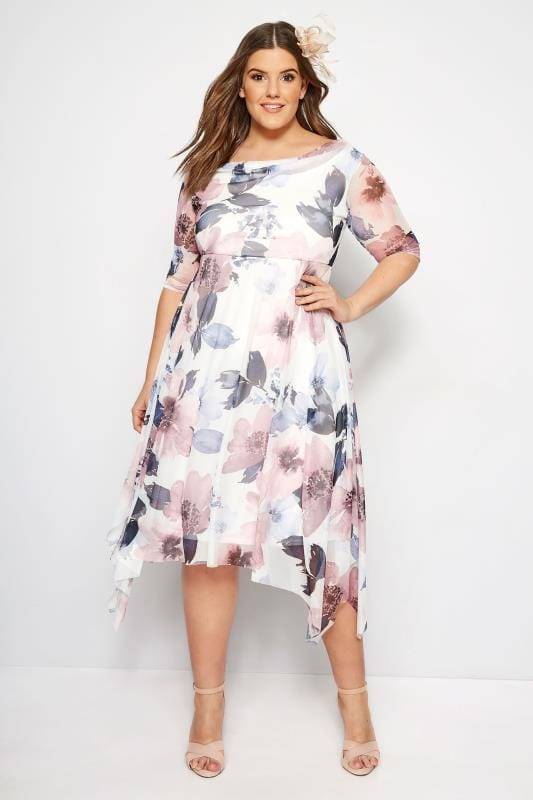 Plus Size Midi Dresses YOURS LONDON Ivory & Dusky Pink Floral Midi Dress With Cowl Neck