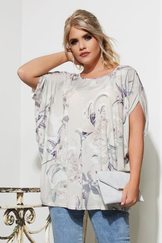Plus Size Smart Jersey Tops YOURS LONDON Ivory Floral Print Jersey Cape Top