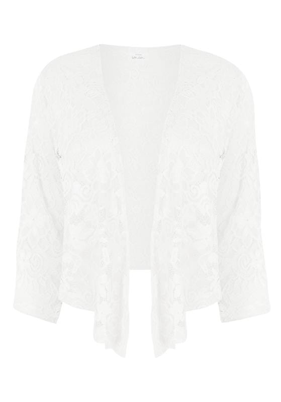YOURS LONDON Ivory Floral Stretch Lace Shrug, plus size 16